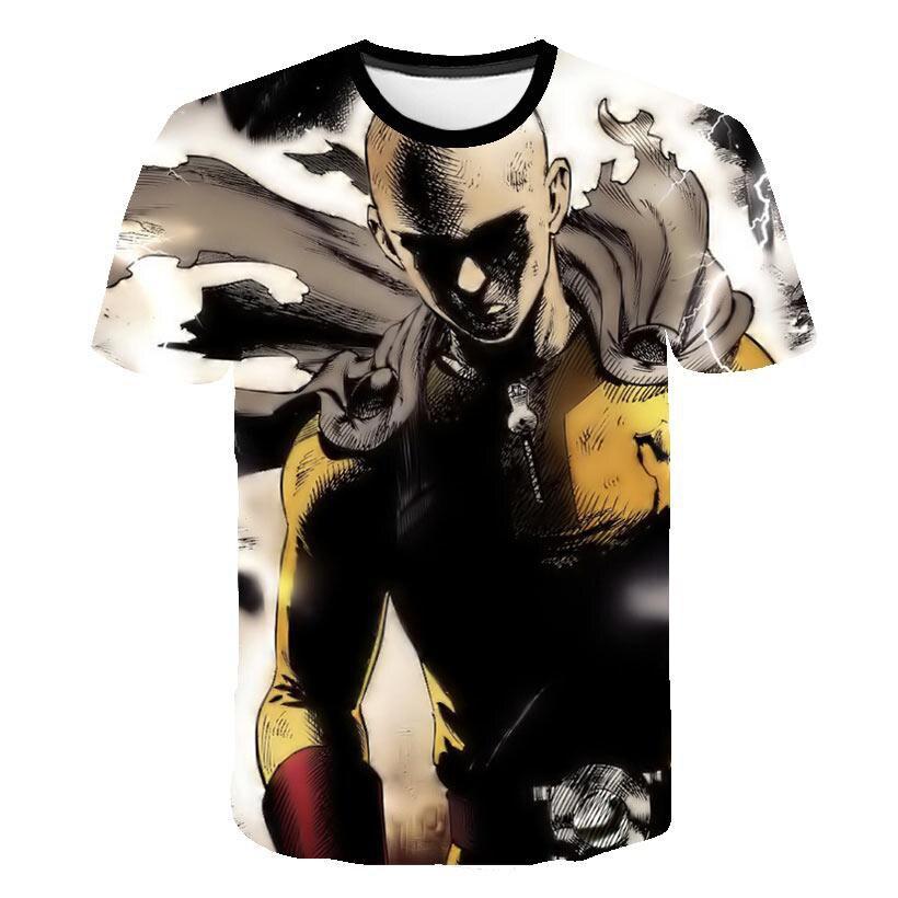 Футболки в стиле Харадзюку для мужчин и женщин, 3D принт, футболка с принтом «один удар», летняя одежда для детей, уличная одежда