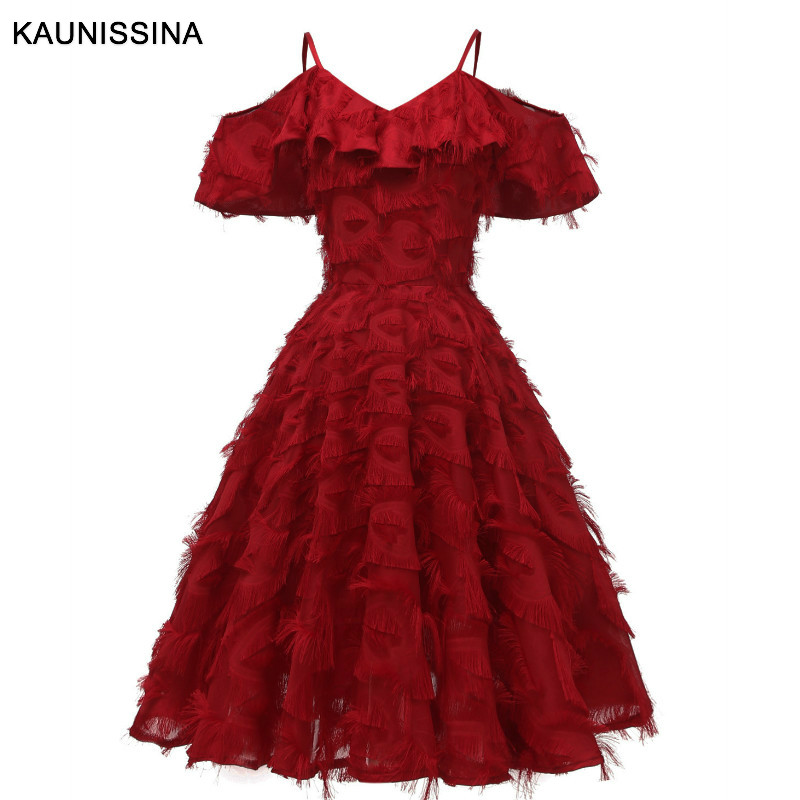 KAUNISSINA Women Cocktail Dress Short Formal Party Dress Sexy Spaghetti Strap Knee Length Cocktail Vestidos Prom Dresses