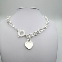 Sterling Silver 925 Classic Popular Original Fashion Heart shaped Charm Ladies Ladies Necklace Jewelry Holiday Gift