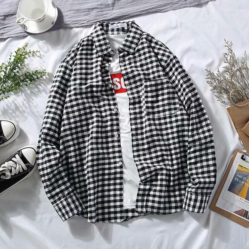 Summer Long Sleeve Plaid Shirt Teenager Students Couples Casual Shirt Men's Four Seasons Loose-Fit Korean-style Versatile Coat