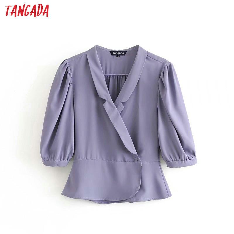 Tangada Women Elegant Spring Blouse Turn Down Collar Button Ruffles Long Sleeve Chic Female Shirt Blusas Femininas 3D04