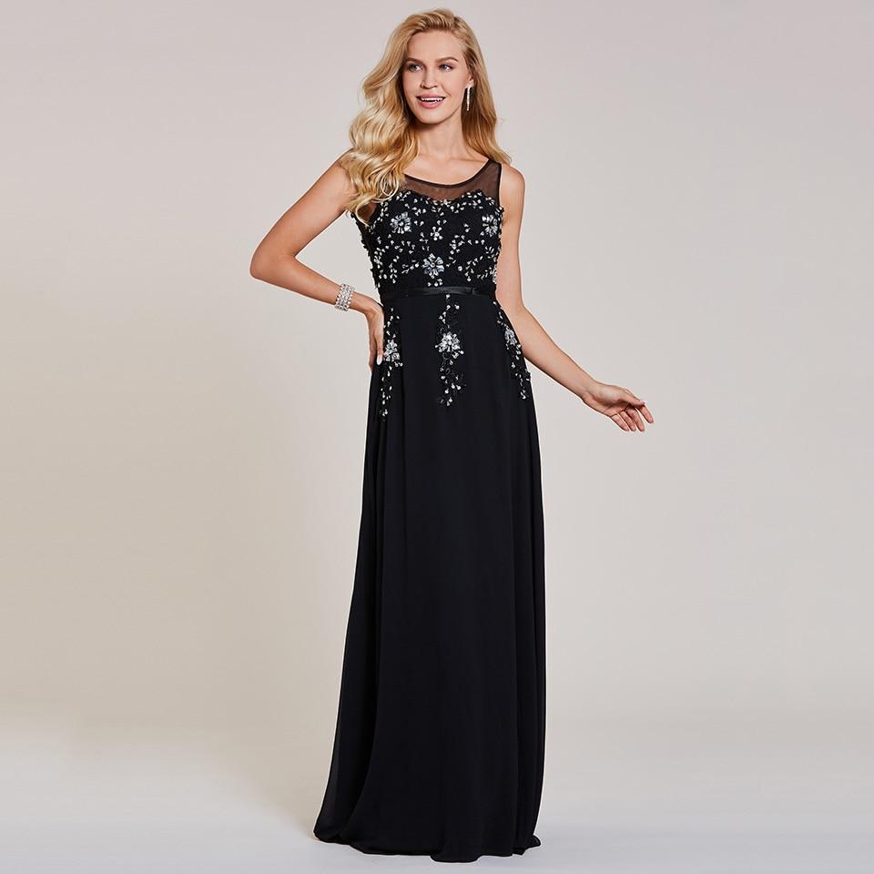 Dressv black long   evening     dress   cheap scoop neck sleeveless beading wedding party formal   dress   a line   evening     dresses