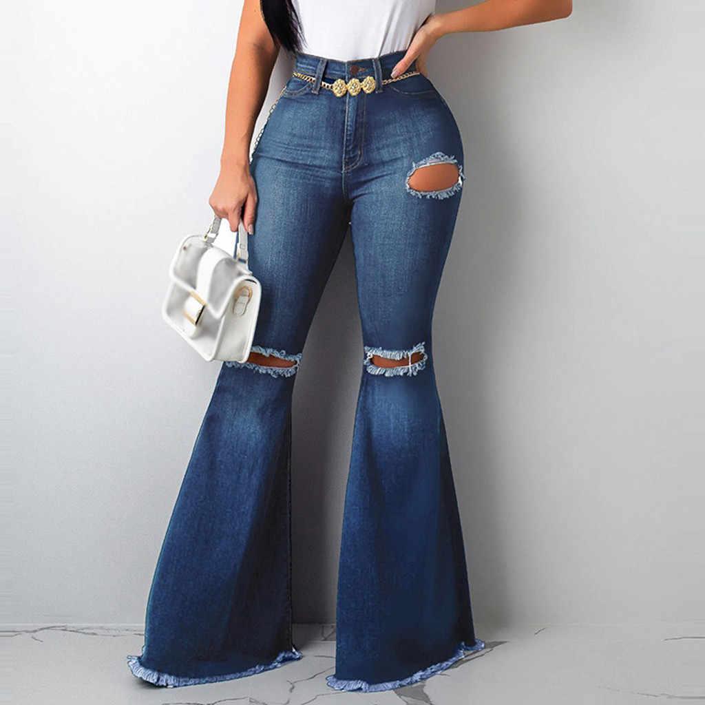 Pantalones Vaqueros De Cintura Alta Para Mujer Pantalon Largo De Pierna Ancha Con Flecos Informal Sexy Desenfadado 10 16 Pantalones Vaqueros Aliexpress
