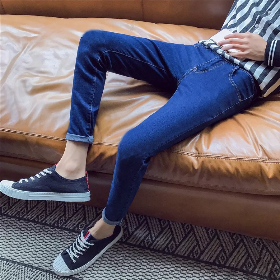 Elasticity Dark Color Jeans Men's Spring Summer England Youth Slim Models Skinny Pants Men's Trousers Thin Korean-style Long Pan