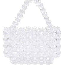 Super hot sell luxury fashion 2019 brand design retro vintage transparent pearl crystal beaded handbag shoulder bag evening