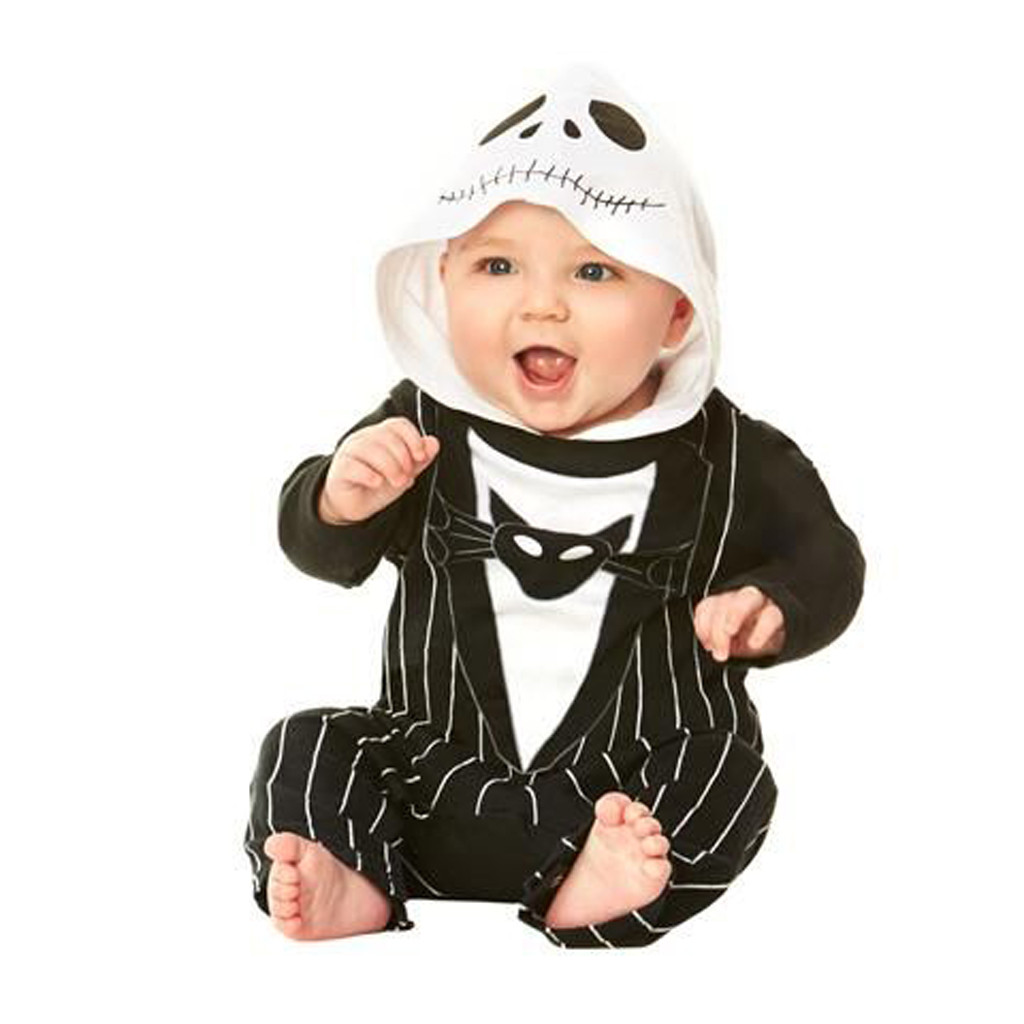 Newborn Baby Girls Print Rompers Jumpsuit Bat Demon Halloween Hooded Romper Jumpsuit Costume New Born Baby Clothes Casual Outfit