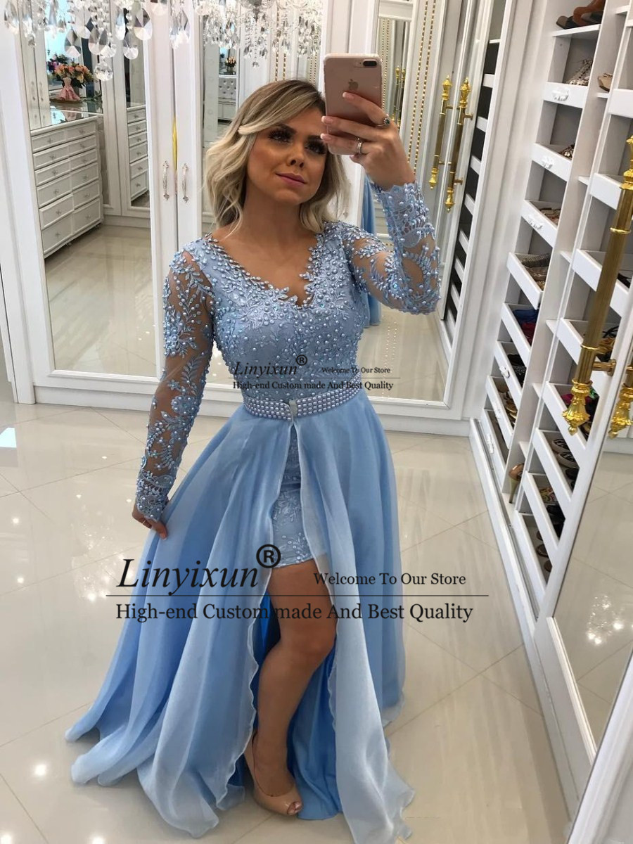 Sexy V Neck Baby Blue Chiffon Evening Dresses With Pearls Lace Appliques Long Sleeves With Detachable Skirt Sash Prom Dresses