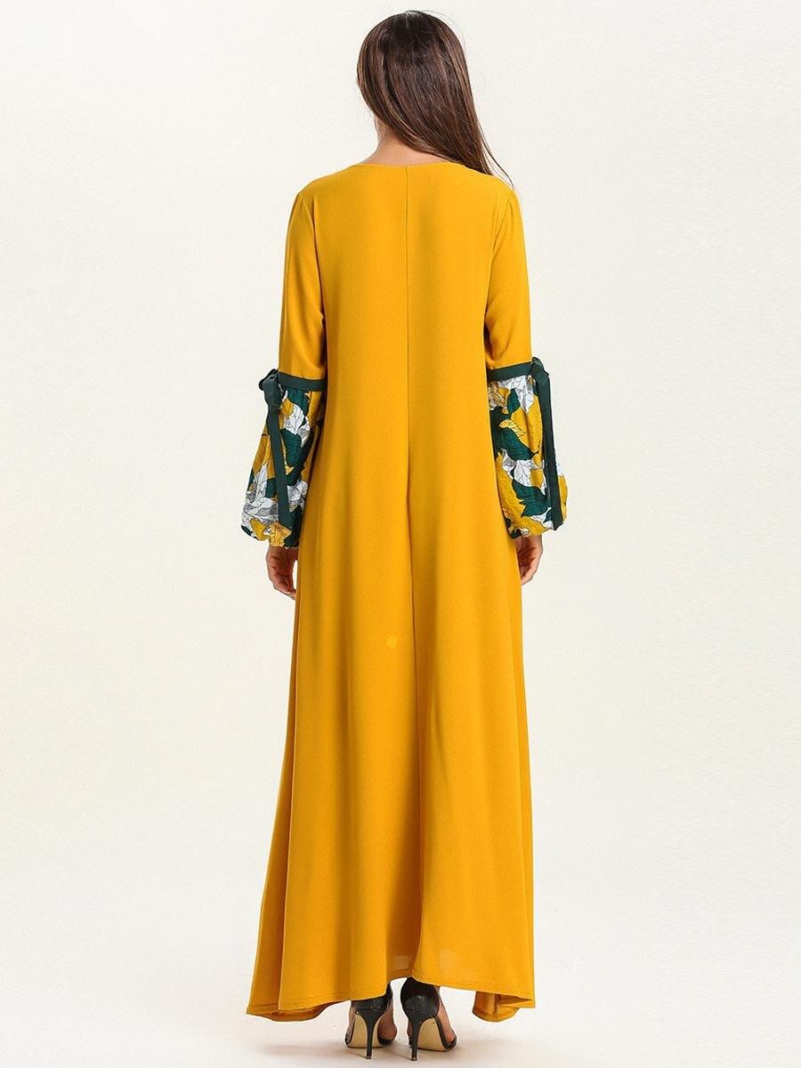 Abaya dubaï grande taille Femme impression mode Musulman Robe automne Musulmane Femme bretelles à manches longues Section mince Robe Musulmane - 4