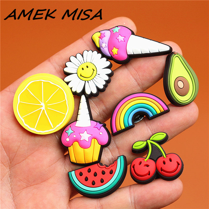 1 Pcs Cartoon High Imitation Shoe Charms Cute Simulated Food Buckle Decorations Garden Shoe Accessories Fit Croc JIBZ Kids Gift