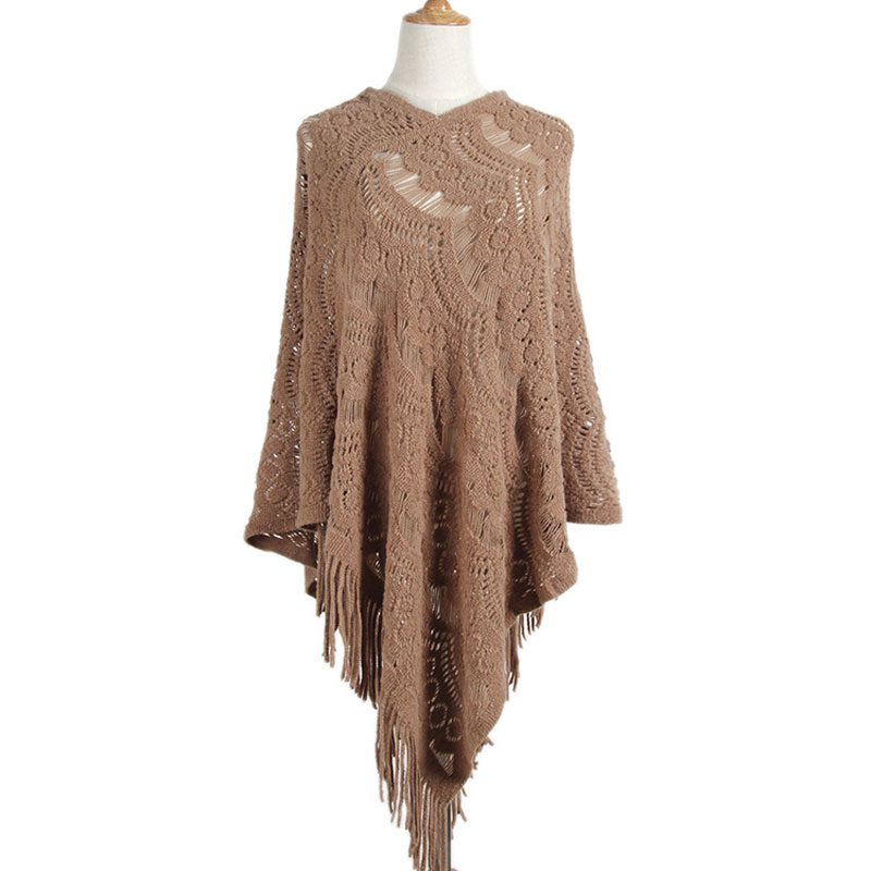 2019 Autumn Tassel Poncho Women Loose Sweater Ladies Knitted Coat Bohemian Shawl Scarf Ladies Sweater For Women