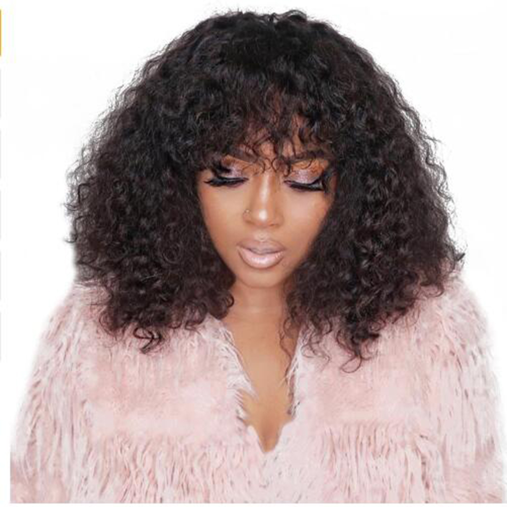 Eversilky Curly 13x4 Lace Front Human Hair Wigs With Bangs Baby Hair Pre Plucked 250 Density Remy Peruvian Full Lace Fringe Wig
