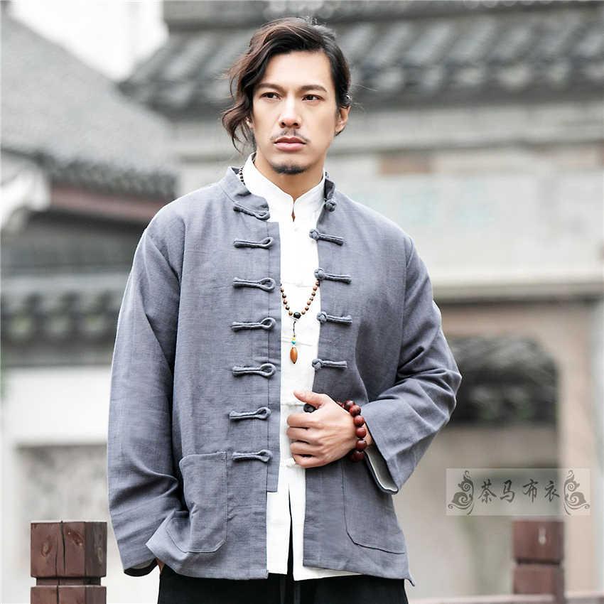 만다린 칼라 Tradtional 중국 의류 남성 자켓 새해 복장 복고풍 블라우스 중국 셔츠 스타일 태극권 유니폼