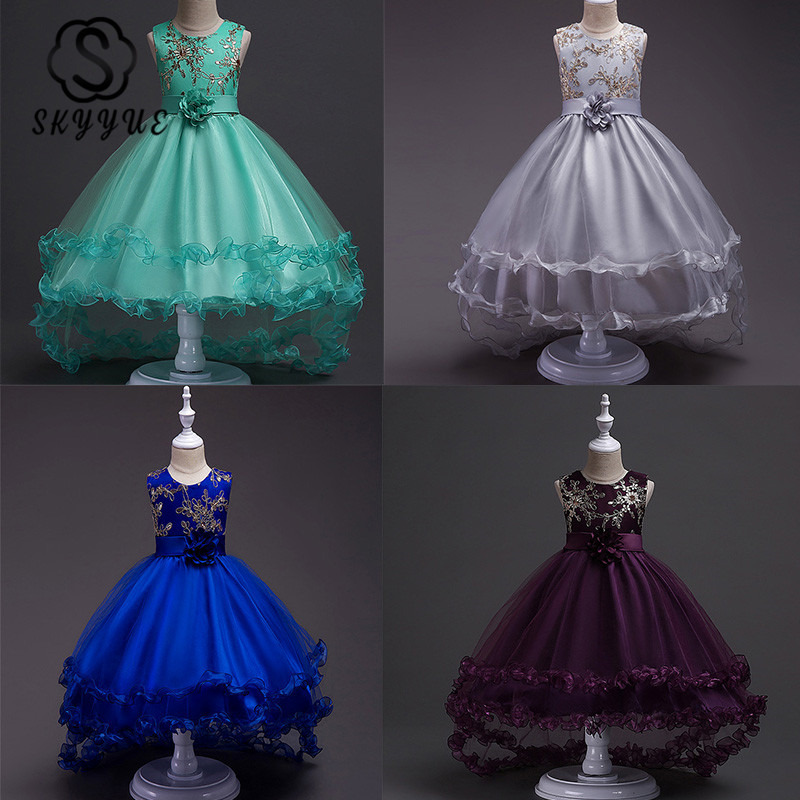 Skyyue Flower Girl Dress For Wedding O-neck Sleeveless Green Tulle Tank Ball Gown Kid Party Communion Dress Princess 2019 813