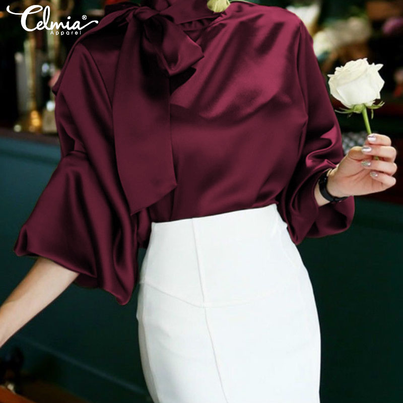 Fashion Women Long Sleeve Satin Tops And Blouses Celmia Elegant High Collar Shirt Loose Bow Tie Casual Blusas Feminina Plus Size