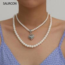 Salircon Vintage Retro Carved Heart Choker Necklace For Women White Imitation Pearl Beaded Necklace Fashion Wedding Jewelry Gift цена 2017
