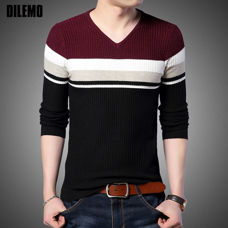 New Fashion Brand Sweater For Mens Pullovers Slim Fit Jumpers Knitred Striped Autumn V Neck Korean Style Casual Men Clothes
