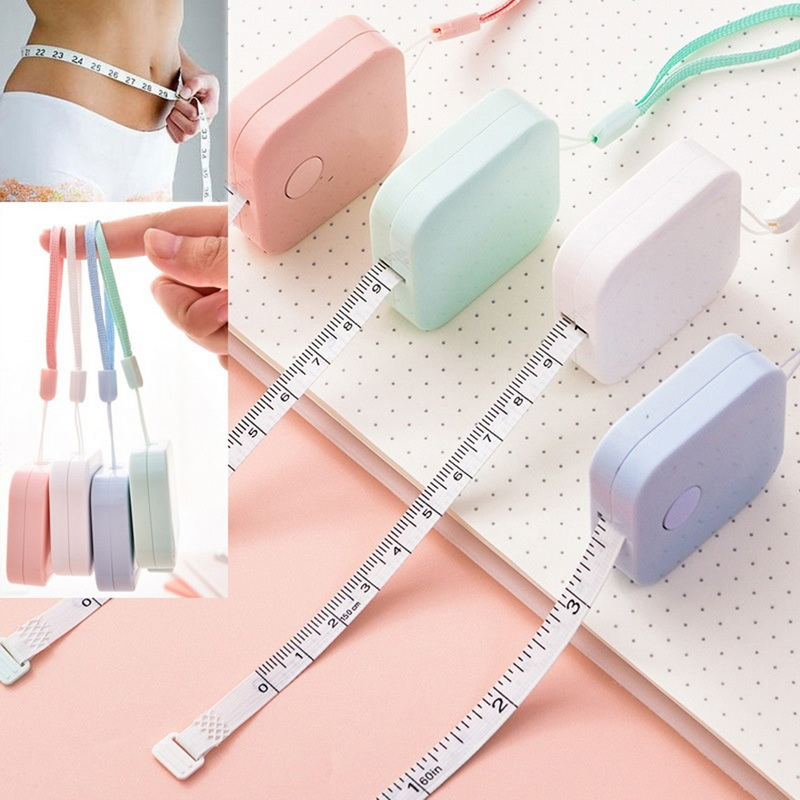 "150cm/60"" Tape Measure Portable Retractable Ruler Children Height Ruler Sewing Machine Sticker Roll Tape Body Random Color"