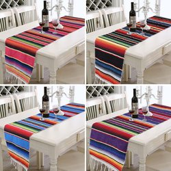 Toalha de mesa do casamento do arco-íris do arco-íris do corredor colorido da tabela da listra para a festa mexicana
