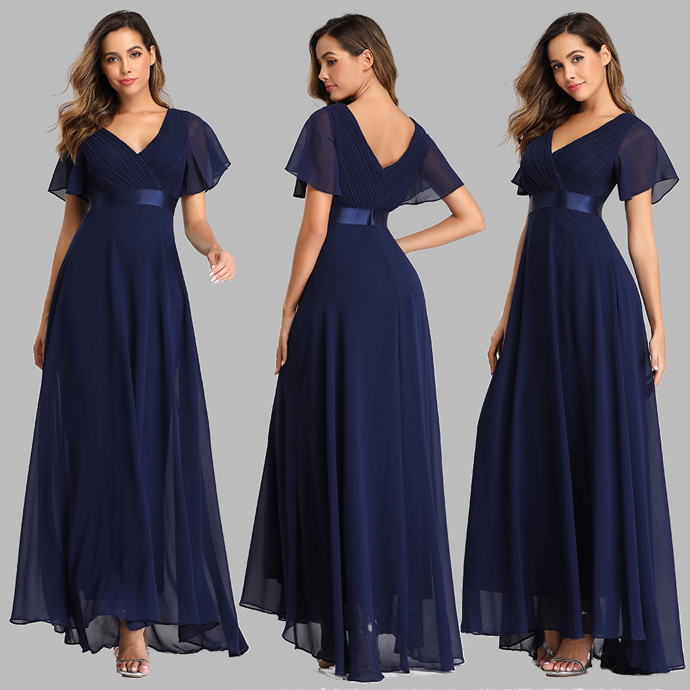 Evening Dresses XUCTHHC Elegant V-Neck Ruffles Chiffon Formal Evening Gown Party Dress Robe  vestidos de fiesta de noche A-line 3