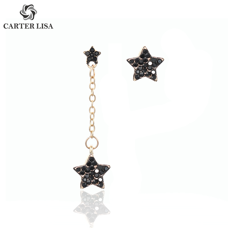 CARTER LISA  Fashion Exquisite Star Asymmetry Drop Earring Shiny Black Rhinestone Paved Dangle Earring For Women HLEZ259000