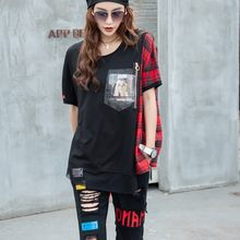 Summer Loose Women Patchwork T-shirt Plaid Casual Short Sleeve Tops Tees Zipper Mesh Spliced T-shirts Streetwear Tee One Size(China)