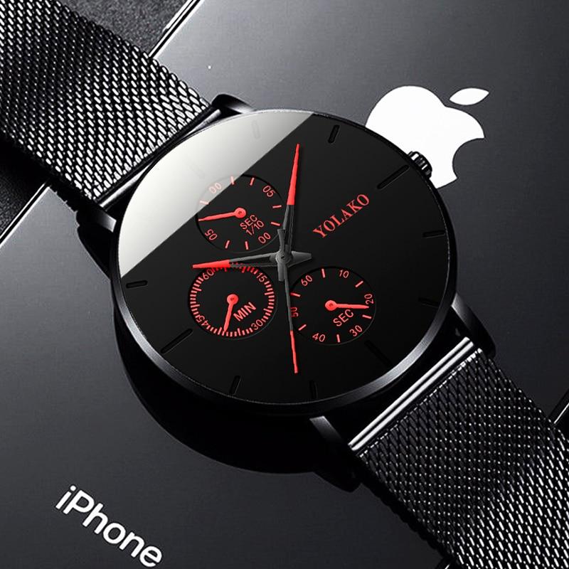 Reloj de pulsera de cuarzo con correa de malla para hombre, cronógrafo clásico informal con pulsera de acero inoxidable ultradelgada, de lujo