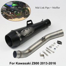 Slip On Exhaust Mid Link Connect Pipe & Muffler Exhaust Tip Pipe Motorcycle Exhaust Modified For 2013-2016 Kawasaki Z800 Scooter