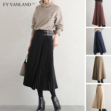 FY VANLAND Spring Autumn High Waist Women Skirt Casual Vintage Solid Belted Pleated Midi Skirts Lady New Fashion Simple 2020