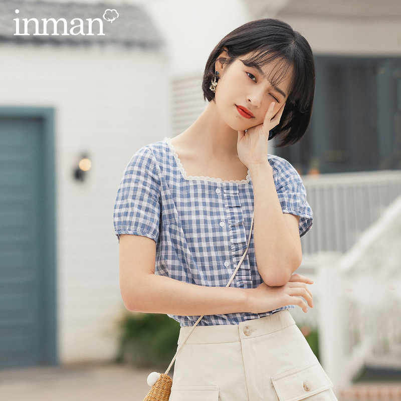 INMAN 2020 Summer New Arrival Lace Square-cut Collar Slimmed Splicing Stringy Selvedge Short Sleeve Plaid Blouse