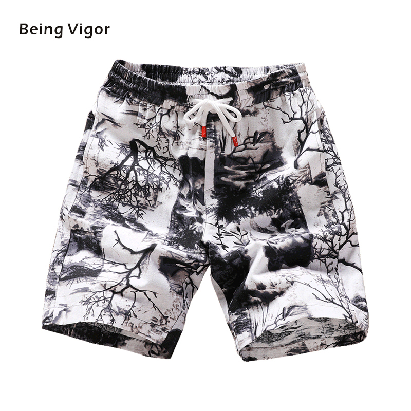 Men Casual Shorts With Drawstring Sport Shorts Full Printed For Mens Hip Hop Streetwear Summer New 2019