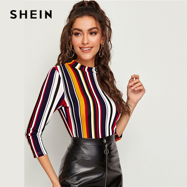 Multicolor Mock-neck Form Fitted Striped Top Slim T Shirt Women 3/4 Length Sleeve Elegant