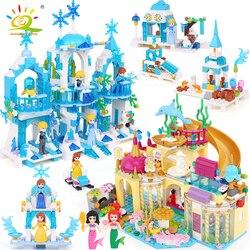 Juego de bloques de construcción Elsa Castillo de hielo princesa Anna Ariel Compatible con Legoings friend for girl Little Mermaid figuras Juguetes