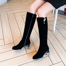 Plus Size 34-43 Fashion Knee High Boots Women Long Round Toe Heel Shoes Ladies Flock Leather Comfortable Winter