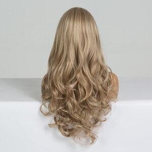 Image 4 - EASIHAIR uzun koyu sarı sentetik peruklar saç dalga peruk kadınlar için afrika amerikan isıya dayanıklı yüksek sıcaklık peruk Cosplay