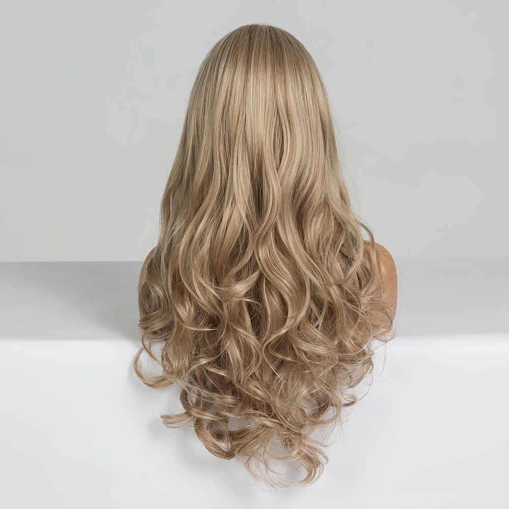 Easihair longo escuro loira perucas sintéticas da onda do cabelo perucas para mulheres africano-americano resistente ao calor de alta temperatura perucas cosplay