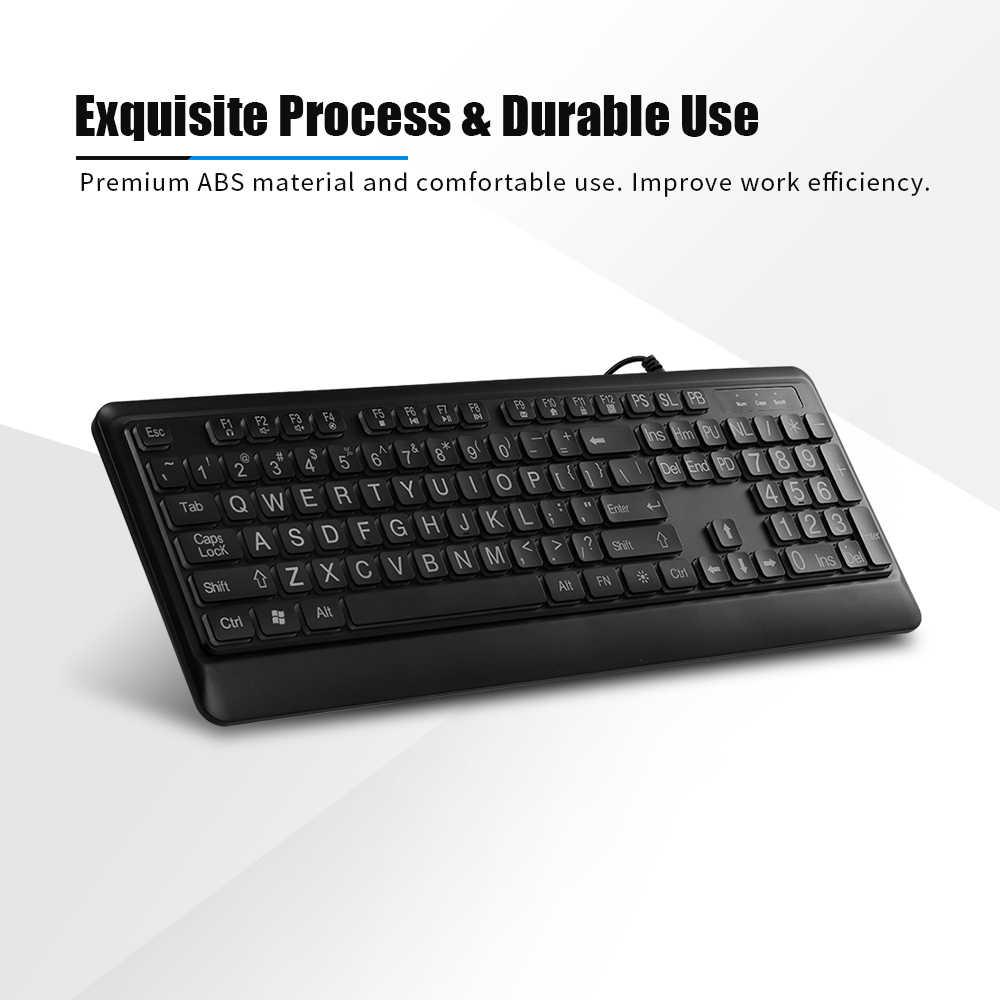 USB Проводная большая клавиатура с принтом белая жирная бесшумной подсветкой и
