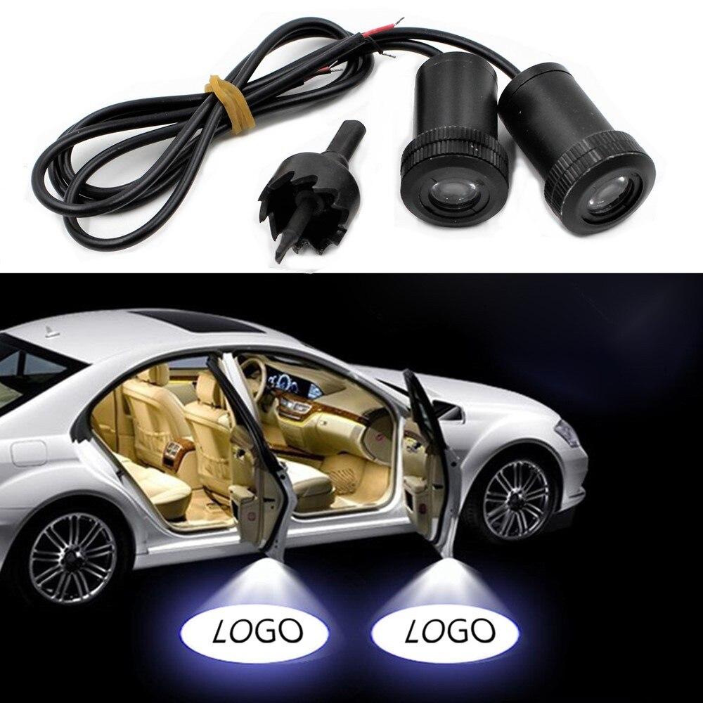 2 sztuk samochodów drzwi witamy światła laserowe samochodów cień duch Led światła lampy uniwersalne dla Lada Kia Toyoda Hyundai Honda Ford