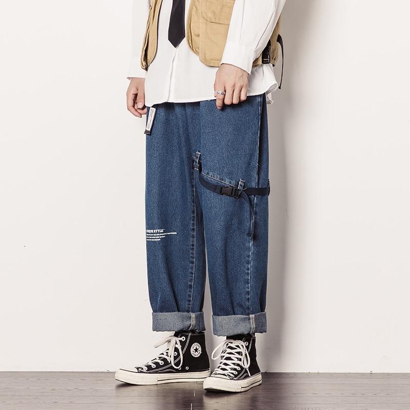 Men's Loose Casual Pants Baggy Homme Wash Jeans Blue/black Color Wide Leg Pants Pocket Decoration Biker Denim Trousers M-5XL