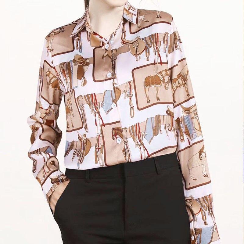 2019 Retro Chic Cartoon Horse Print Shirt Women Loose Casual Lapel Shirts Loose Single-breasted Long Sleeve Blouse