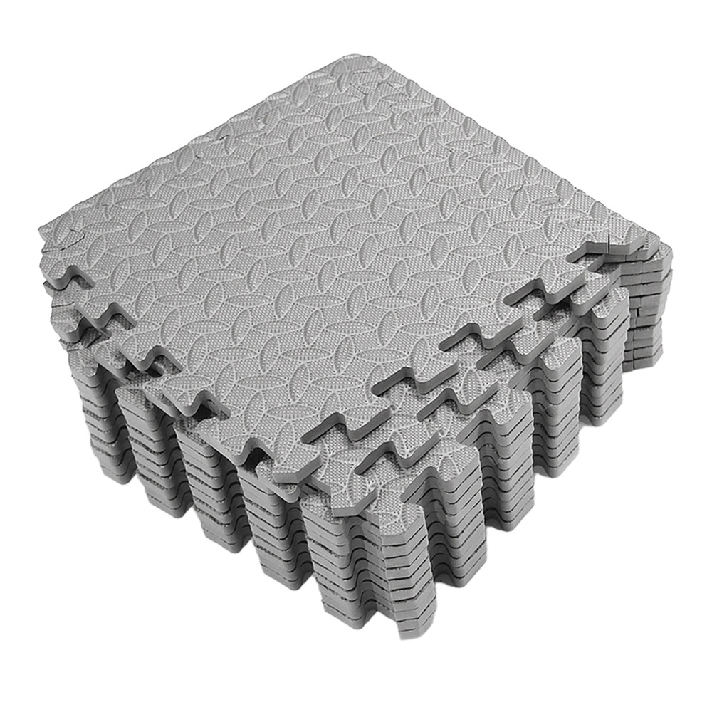 12Pcs EVA Leaf Grain Floor Mats Splicing Mats Patchwork Rugs Thicken Shock Absorption Floor Pads For Gym Dance Room Workouts (Gr