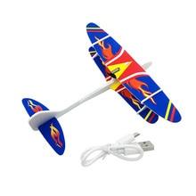 Electric Aircraft Hand Throw USB Charging Biplane Model GyroplaneToy Vehicle Rotating Plane Kids Gift Gyroplane