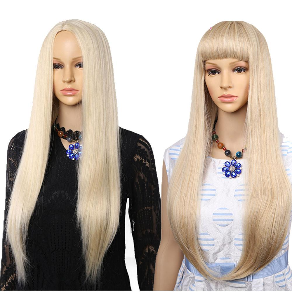 Long Straight Hair Wig Synthetic Blonde Wigs with Bangs wig For Women Medium Party free Party Brown Wig Cosplay