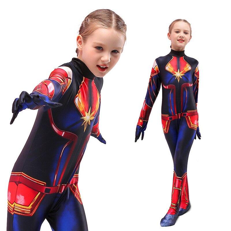 Детский комбинезон для косплея, костюм супергероя мс-Марвел Кэрол данвера, костюм на Хэллоуин для девочек