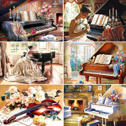 HUACAN 5d Diamond Painting Full Square Piano Diamond Embroidery Art Kits Flower Scenery Home Decoration