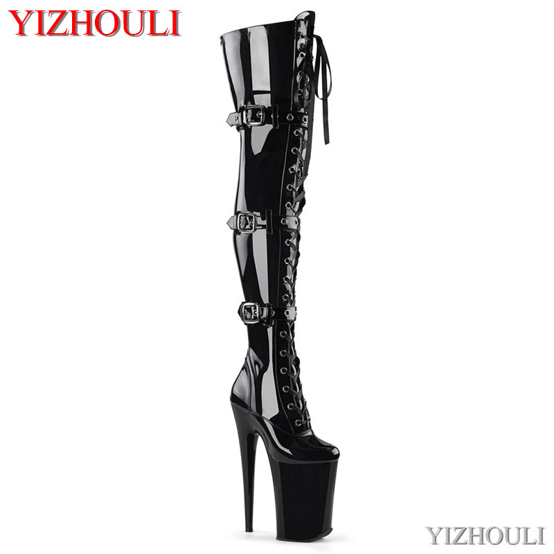 Gladiator women with 23 cm heels, sexy club pole dancing boots with 9 inch knee and thigh high boots