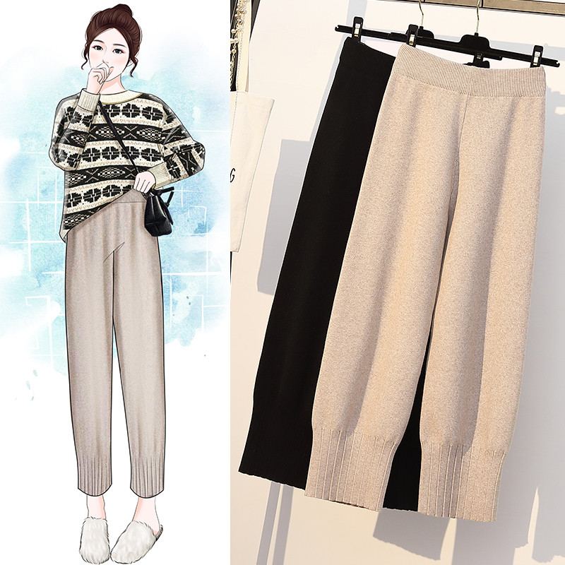 Winter High Elastic Solid Color Knitted Loose Comfortable Wide Leg Long Pant Large Size Harlan Bottoming Pants Plus Size Za 2019