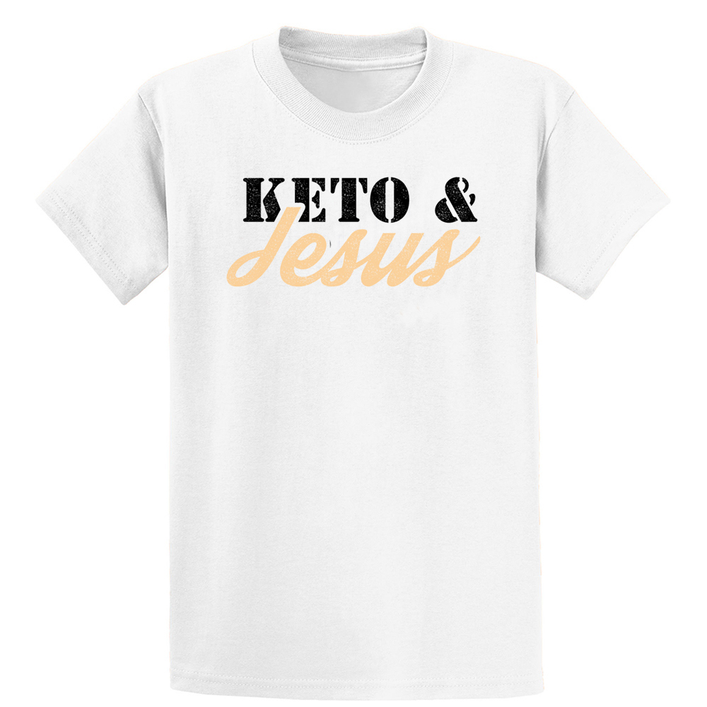 Powered By Keto Jesus Funny Low Carb Keto T Shirt Family Graphic Authentic Designing Short Sleeve Leisure Over Size 5xl Shirt