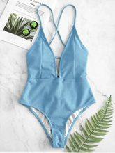 Maillot de bain une pièce bleu solide, Sexy, col licou, échancré, culotte tanga, dos nu, Monokini, pour femmes