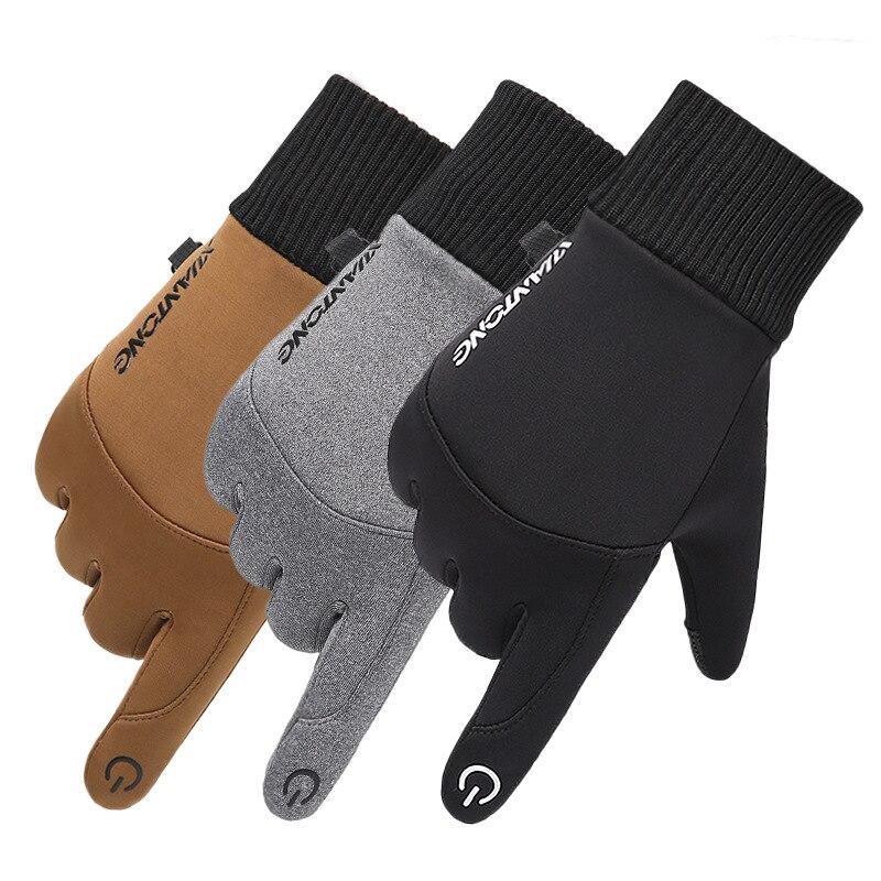 Winter Windproof Outdoor Sports Men Gloves Touch Screen Driving Motorcycle Skiing Waterproof Non-Slip Warm Fleece Women Gloves