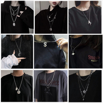 SOHOT New Multilayer Punk Style Unisex Women Men Long Pendant Necklace Chic Gun Black Hip Hop Charm Jewelry Sweater Chain - discount item  30% OFF Fashion Jewelry
